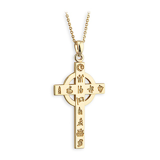 14K HOI CROSS SMALL PENDANT(BOXED)