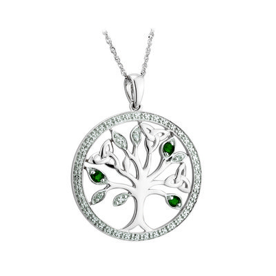 14 karat White Gold Diamond & Emerald Tree Of Life Necklace S46728 on 18 inch 14 karat white gold sing chain from Solvar