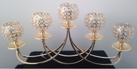 Candleholder 5 Clear Crystals C/H Cups Gold