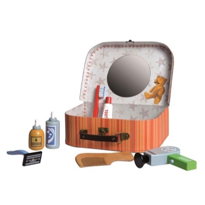 Toy wooden shaving kit in a carry-case with a mirror