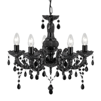 MARIE THERESE 5 X 60W E14 LIGHT CHANDELIER  BLACK (BULB NOT INCLUDED)