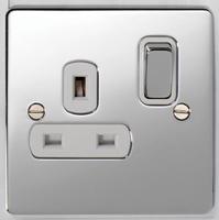 DETA Flat Plate 1gang Socket Chrome with White Insert | LV0201.0291
