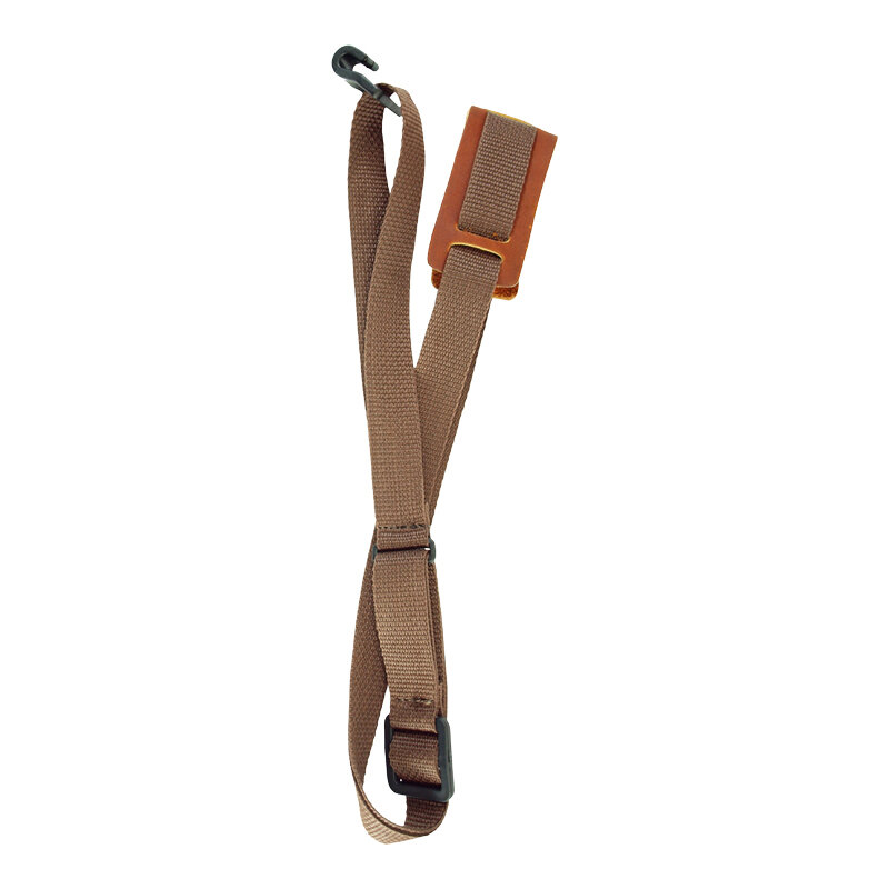 LM ukulele strap with leather pad brown