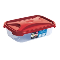 Cuisine 0.8Ltr Rectangular Food Box Chili Red Lid