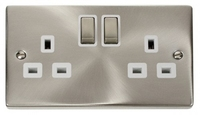 Click Litehouse DECO 13A 1G Ingot Switch Socket White Insert Satin Chrome