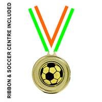 40mm Soccer Medal & TRI Ribbon (Gold)