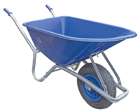 100ltr Blue PVC Garden Wheelbarrow Assembled