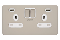 Ultimate 2G  switched socket with 2xUSB WH Pearl Nickel