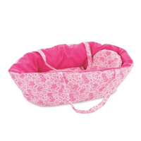 Soft reversible carrycot with fuchsia pink floral bedding