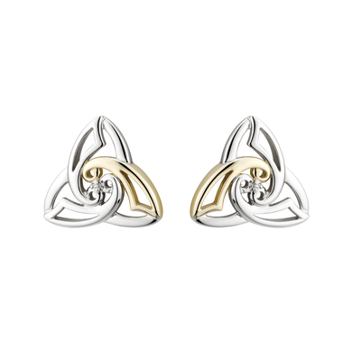 SILVER 10K GOLD & DIA CELTIC KNOT STUD EARRINGS(BOXED)