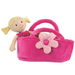 Rag doll Fleur in her carrycot bed with magnetic flower clasp