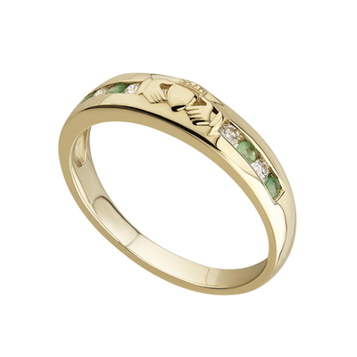 14 karat diamond and emerald claddagh eternity ring