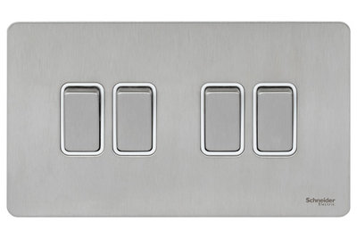 Schneider Ultimate Screwless 4Gang 2way Switch Stainless Steel white|LV0701.0916