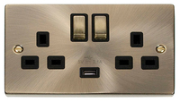Deco Antique Brass 13A 2G USB Switched Socket