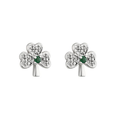 14K WHITE GOLD DIAMOND & EMERALD SHAMROCK STUD EARRINGS