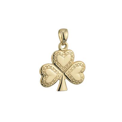 14k gold celtic engravement shamrock charm s8138 from Solvar