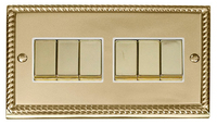 Click Deco Georgian Cast Brass with White Insert 6 Gang 2 Way 'Ingot' Switch | LV0101.0056