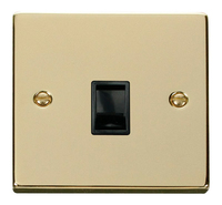Click Deco Victorian Polished Brass with Black Insert Single RJ11 Socket | LV0101.0191