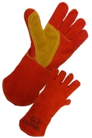 Premium Red Welders Gauntlet w/ Patch Palm