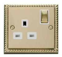 Click Deco Georgian Cast Brass with White Insert 'Ingot' single socket | LV0101.0060