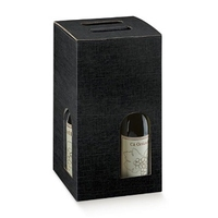 Black four bottle wine box