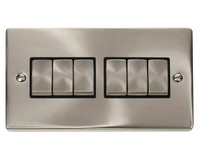Click Litehouse DECO 6G 2Way Ingot Switch Black Insert Satin Chrome