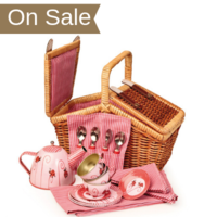 Play picnic ladybug tea set in a wicker basket