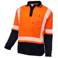 Techni Vision Hi Vis Day/Night Cotton Back Segmented Long Sleeve Polo