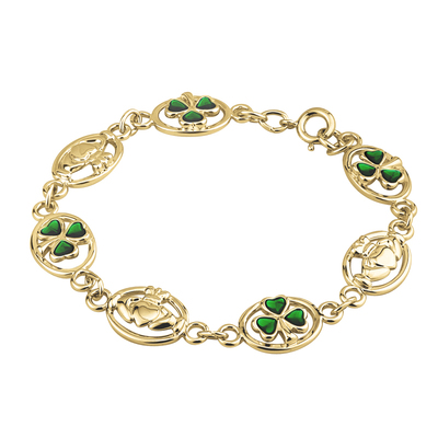GOLD PLATED ENAMEL SHAMROCK & CLADDAGH BRACELET(BOXED)