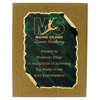 20cm Green Scroll on Oak Plaque