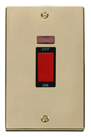Click Deco Victorian Polished Brass with Black Insert Tall Cooker Switch | LV0101.0188