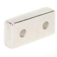 NEODYMIUM MAGNETS | RECTANGULAR WITH COUNTERSUNK HOLE 40X20X10MM N35 NICKEL