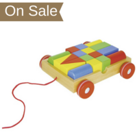 Wooden pull along cart with building blocks