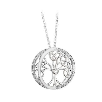 S/S CZ TREE OF LIFE PENDANT
