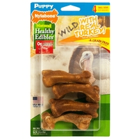 Nylabone Puppy Snacks Turkey & Sweet Potato Bones Small - 4pk x 1