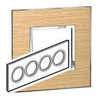 Arteor (British Standard) Plate 8 Module Round Light Oak | LV0501.2794