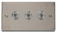 Click Deco Victorian Stainless Steel 1Gang 3 Way Toggle Switch | LV0101.1865