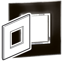 Arteor (British Standard) 1 Gang 2 Module Square Mirror Black   LV0501.0154