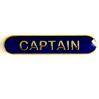 Captain - Bar Shaped School Badge (Blue)
