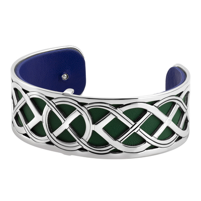 RHODIUM PLATED LEATHER CELTIC KNOT CUFF BANGLE(BOXED)