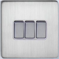 DETA Screwless 3 Gang Switch Satin Chrome White | LV0201.0064