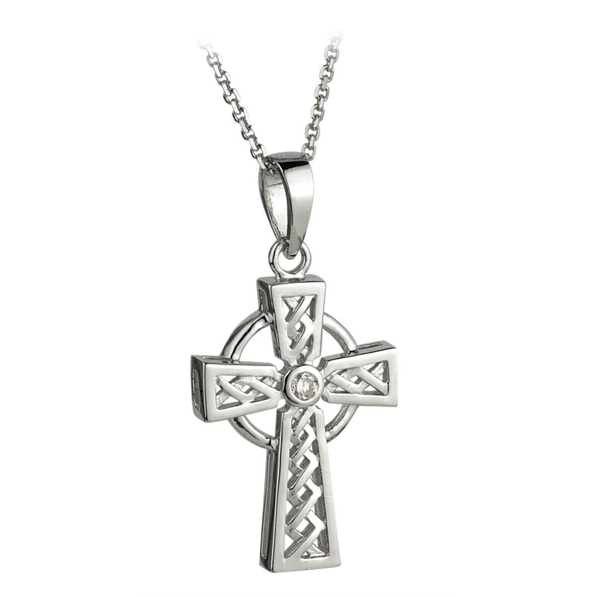 14k white gold diamond celtic cross pendant s44043 from Solvar