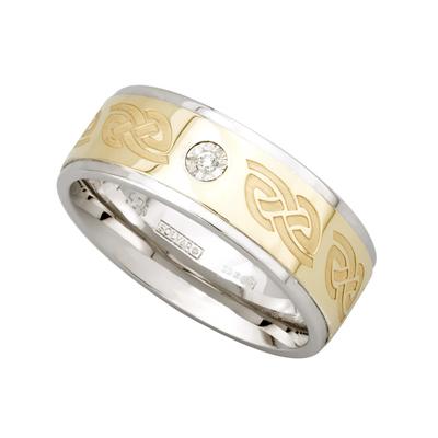 SILVER & 10K GOLD GENTS DIAMOND WEDDING BAND