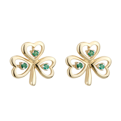 9K EMERALD SHAMROCK STUD EARRINGS