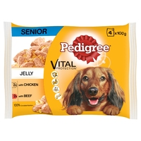 Pedigree Pouches Senior Chicken & Beef in Jelly 100g 4-Pack x 13
