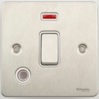 Flat Plate Stainless Steel 20A Switch F/OUT +N WHITE | LV0701.0370