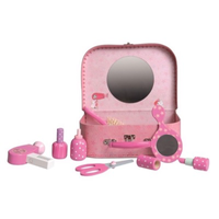 Toy wooden vanity kit in a carry-case with a mirror