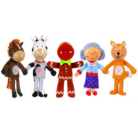 Gingerbread Man Finger Puppets - horse, cow, gingerbread man, granny, fox