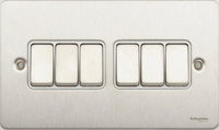 Switch Ultimate 6 Gang 2 way Stainless Steel