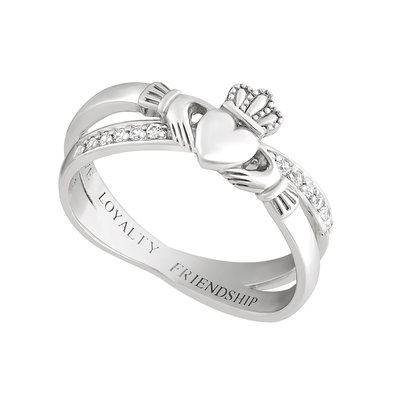 SILVER CLADDAGH CROSSOVER RING